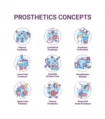 Prosthetics concept icons set. Upper and lower-limb prosthesis idea thin line RGB color illustrations. Rehabilitation robotics. Entire limb assembly. Vector isolated outline drawings. Editable stroke icon