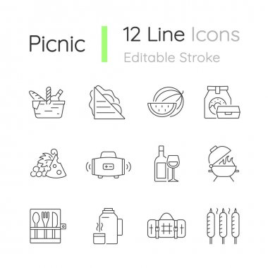 Picnic linear icons set. Heaving picnic hamper. Ham and cheese sandwich. Takeaway food. Wireless radio. Customizable thin line contour symbols. Isolated vector outline illustrations. Editable stroke icon
