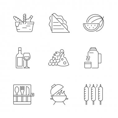 Garden party linear icons set. Picnic basket. Sandwiches. Serving fruit. Alcoholic drink. Thermos flask. Customizable thin line contour symbols. Isolated vector outline illustrations. Editable stroke icon