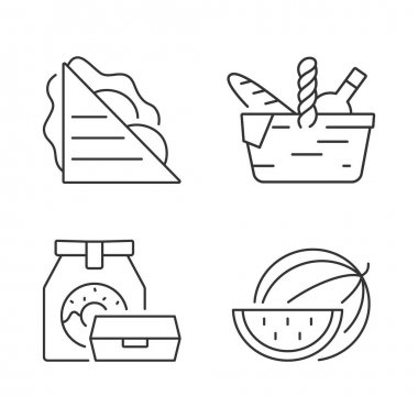 Outdoor meal linear icons set. Ham and cheese sandwich. Picnic basket. Takeaway food. Watermelon. Customizable thin line contour symbols. Isolated vector outline illustrations. Editable stroke icon
