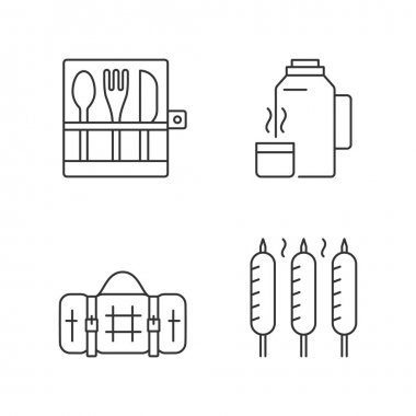 Outdoor social gathering linear icons set. Picnic cutlery. Vacuum flask. Grilled sausage. Picnic blanket. Customizable thin line contour symbols. Isolated vector outline illustrations. Editable stroke icon