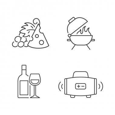 Outdoor dining linear icons set. Pairing fruit and cheese. Bbq grill. Alcoholic drink. Streaming music. Customizable thin line contour symbols. Isolated vector outline illustrations. Editable stroke icon