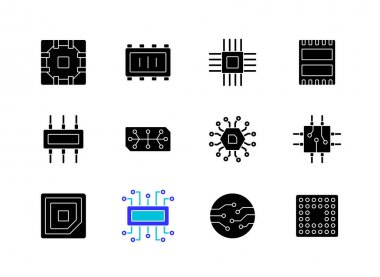 Microcircuits black glyph icons set on white space. Designing modern microcomponents for device creation. Building electronic systems. Silhouette symbols. Vector isolated illustration icon
