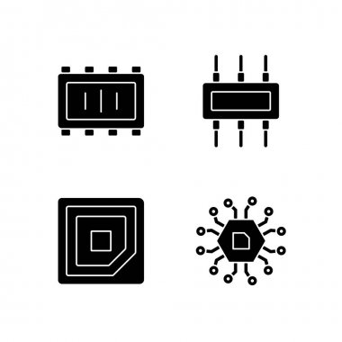 Microcircuits black glyph icons set on white space. Cpu corner marking for placing device. Electronic parts creation. Silhouette symbols. Vector isolated illustration icon