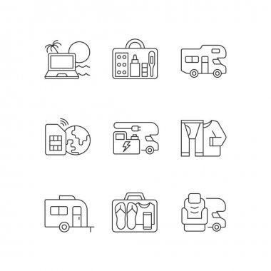 Travel linear icons set. Recreational vehicle. Campground for RV. Roadtrip gear. Nomadic lifestyle. Customizable thin line contour symbols. Isolated vector outline illustrations. Editable stroke icon