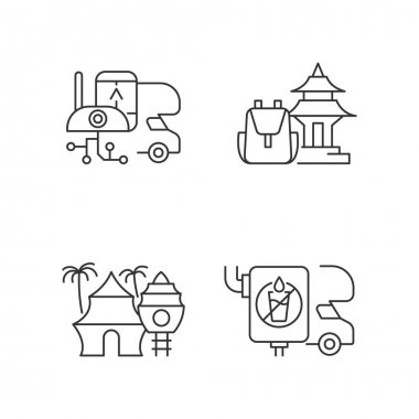 Vacation linear icons set. RV electronics. Trailer device. Spiritual nomad. Resort hotel. Van water tank. Customizable thin line contour symbols. Isolated vector outline illustrations. Editable stroke icon