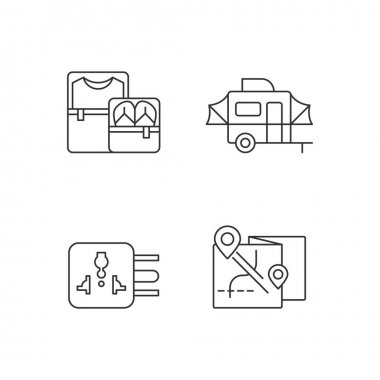 Traveler pack linear icons set. Clothing cubes. Tourist baggage. Map for camper. Universal adapter. Customizable thin line contour symbols. Isolated vector outline illustrations. Editable stroke icon