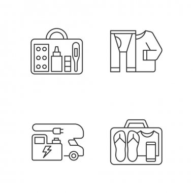 Traveler things for vacation linear icons set. Trailer electricity generator. Thermal wear. First aid. Customizable thin line contour symbols. Isolated vector outline illustrations. Editable stroke icon