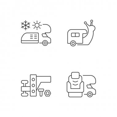 Recreational vehicle linear icons set. Slow travel. Air conditioning and heating. Towing gear. Customizable thin line contour symbols. Isolated vector outline illustrations. Editable stroke icon