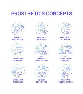 Prosthetics concept icons set. Upper and lower-limb prosthesis idea thin line RGB color illustrations. Breast and penile implants. Artificial device. Neck prostheses. Vector isolated outline drawings icon