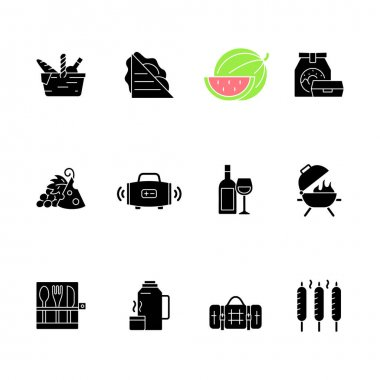 Picnic black glyph icons set on white space. Heaving picnic hamper. Ham and cheese sandwich. Watermelon. Take away food. Wireless loudspeaker. Silhouette symbols. Vector isolated illustration icon