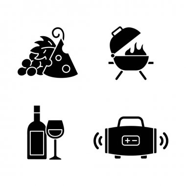 Outdoor dining black glyph icons set on white space. Pairing fruit and cheese. Bbq grill. Alcoholic drink. Streaming music. Afternoon snack. Silhouette symbols. Vector isolated illustration icon