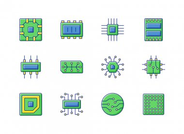 Microcircuits RGB color icons set. Designing modern microcomponents for device creation. Building electronic systems with small parts. Isolated vector illustrations icon