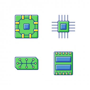 Microcircuits RGB color icons set. Computer device ports for connecting devices. Stable connection between smart computer components. Isolated vector illustrations icon