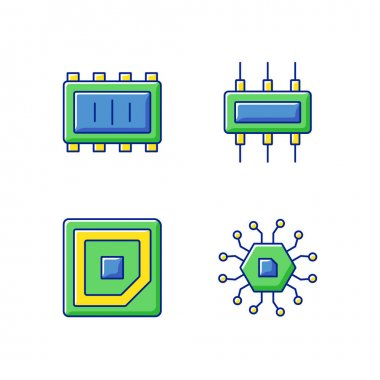 Microcircuits RGB color icons set. Cpu corner marking for placing device. Electronic parts creation for stable working process of pc. Isolated vector illustrations icon