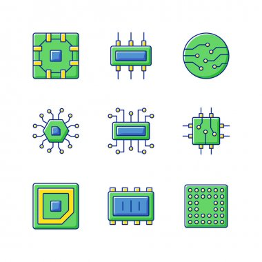 Microcircuits RGB color icons set. Computer device circuit boards design creation. Modern microchips developing for creation of powerful computers. Isolated vector illustrations icon
