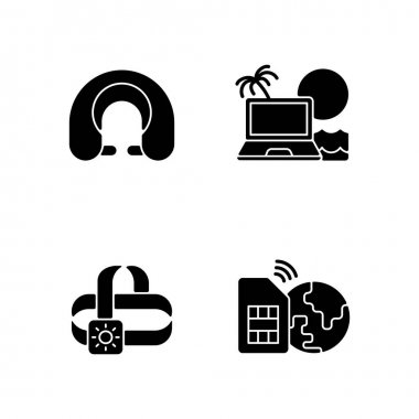 Nomadic lifestyle black glyph icons set on white space. Roadtrip gear. Headlamp, global sim card. Camping trip necessities. Summer vacation. Silhouette symbols. Vector isolated illustration icon