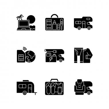 Travel black glyph icons set on white space. Recreational vehicle. Campground for RV. Roadtrip gear. Nomadic lifestyle. Summer vacation. Silhouette symbols. Vector isolated illustration icon