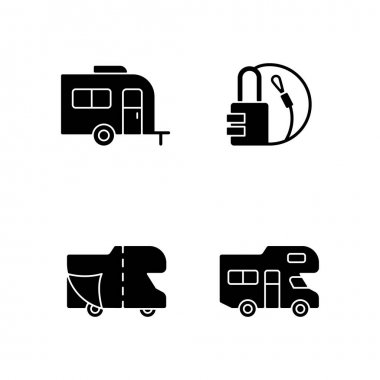 Trailer for van lifestyle black glyph icons set on white space. Cover sheet for RV. Campground for vans. Camping trip necessities for traveler. Silhouette symbols. Vector isolated illustration icon