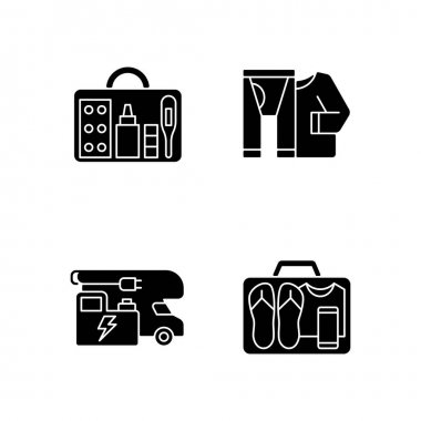 Traveler things for vacation black glyph icons set on white space. Trailer electricity generator. Minimalist mindset. Roadtrip gear. Nomadic lifestyle. Silhouette symbols. Vector isolated illustration icon