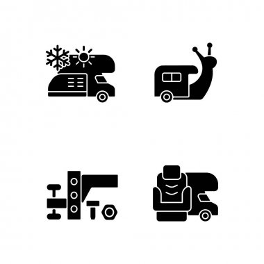 Recreational vehicle black glyph icons set on white space. Slow travel. Air conditioning and heating. Nomadic lifestyle. Camping trip necessities. Silhouette symbols. Vector isolated illustration icon