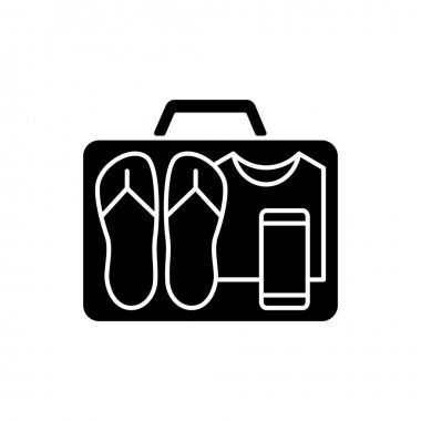 Minimalist mindset black glyph icon. Pack clothing in luggage. Apparel in suitcase. Roadtrip gear. Nomadic lifestyle. Summer vacation. Silhouette symbol on white space. Vector isolated illustration icon