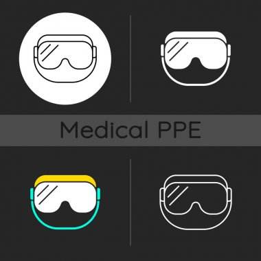 Medical goggles dark theme icons set. Medical equipment for eye protection. Doctor uniform. Disposable PPE. Linear white, solid glyph and RGB color styles. Isolated vector illustrations icon