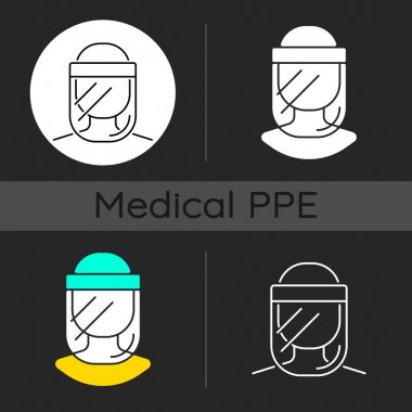 Medical face shield dark theme icons set. Reusable facial cover. Protective wear from virus infection. Disposable PPE. Linear white, solid glyph and RGB color styles. Isolated vector illustrations icon