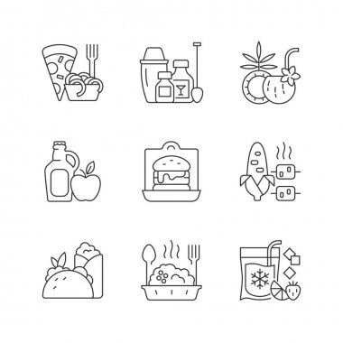Pickup and delivery option linear icons set. Pizza, pasta. Cocktail kit. Pina colada. Cider, apple juice. Customizable thin line contour symbols. Isolated vector outline illustrations. Editable stroke icon