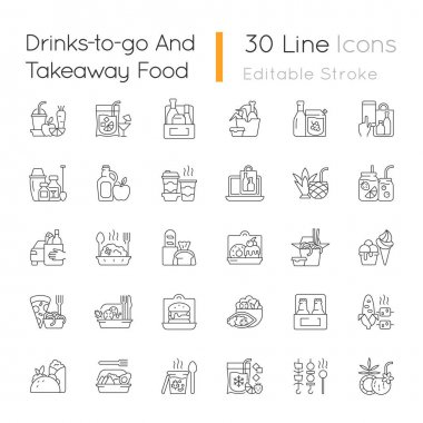 Drinks to go and takeaway food linear icons set. Fresh juice. Alcoholic beverage. Wine, beer, cocktail. Customizable thin line contour symbols. Isolated vector outline illustrations. Editable stroke icon
