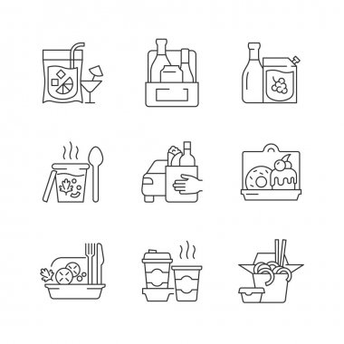 Pickup and delivery option linear icons set. Slushy drinks. Wine, beer, spirits. Thick, creamy soups. Customizable thin line contour symbols. Isolated vector outline illustrations. Editable stroke icon