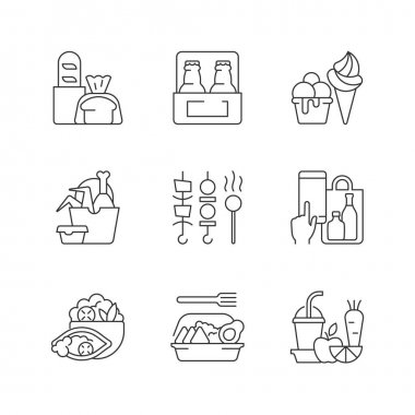 Pickup and delivery option linear icons set. Bakery products. Beer. Ice cream. Chicken wings bucket. Customizable thin line contour symbols. Isolated vector outline illustrations. Editable stroke icon
