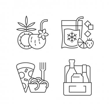 Pickup and delivery option linear icons set. Coconut cocktail. Frozen beverage. Pizza. Alcoholic drinks. Customizable thin line contour symbols. Isolated vector outline illustrations. Editable stroke icon