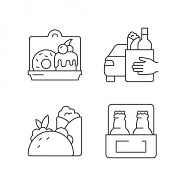 Pickup and delivery option linear icons set. Cakes and desserts. Food curbside pickup. Burritos, tacos. Customizable thin line contour symbols. Isolated vector outline illustrations. Editable stroke icon