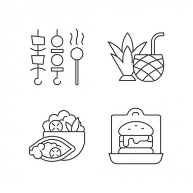 Takeaway and delivery option linear icons set. Shish kebabs and meat pops. Coconut cocktail. Burrito. Customizable thin line contour symbols. Isolated vector outline illustrations. Editable stroke icon