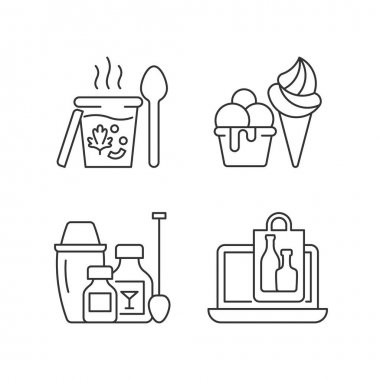 Takeaway and delivery option linear icons set. Soups. Ice cream. Cocktail kits. Purchasing alcohol. Customizable thin line contour symbols. Isolated vector outline illustrations. Editable stroke icon