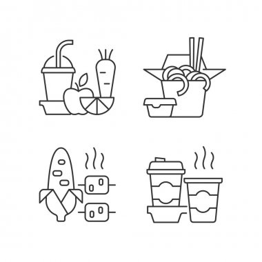 Takeaway and delivery option linear icons set. Fresh juice. Chinese food. Boiled, grilled corn. Coffee. Customizable thin line contour symbols. Isolated vector outline illustrations. Editable stroke icon