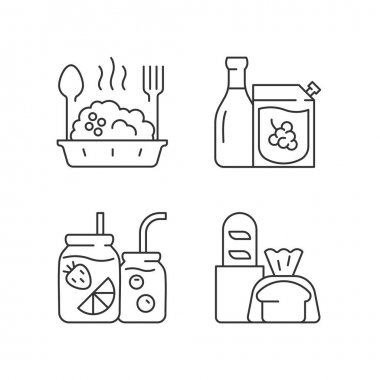 Takeaway and delivery option linear icons set. Porridge bowl. Red and white wine. Fresh bread. Customizable thin line contour symbols. Isolated vector outline illustrations. Editable stroke icon