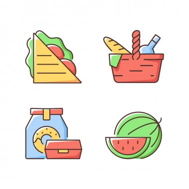 Outdoor meal RGB color icons set. Ham and cheese sandwich. Picnic basket. Takeaway food. Watermelon. Breakfast and lunchtime. Snacks packing. Serving fruit for picnic. Isolated vector illustrations icon
