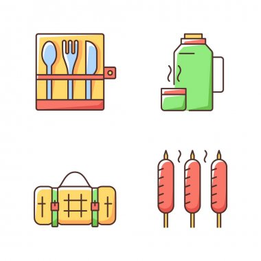 Outdoor social gathering RGB color icons set. Picnic cutlery. Vacuum flask. Grilled sausages. Picnic blanket. Knives, forks. Leak-proof travel mug. Backpacking trip. Isolated vector illustrations icon