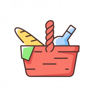 Picnic basket RGB color icon. Heaving picnic hamper. Holding food and tableware. Snacks packing. Gathering family for outdoor lunch. Utensils, plates, napkins storage. Isolated vector illustration icon
