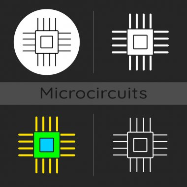 Electronic micro parts dark theme icon. Small electronic components to make modern smart systems. Creating technologies. Linear white, simple glyph and RGB color styles. Isolated vector illustrations icon