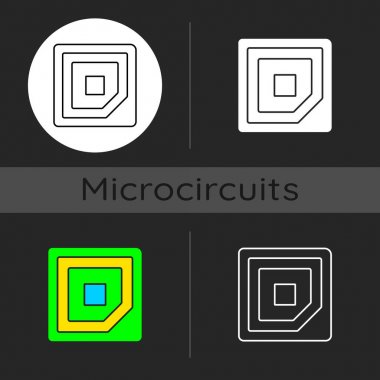Cpu corner mark dark theme icon. Showing in which direction microchip should be placed into computer motherboard. Linear white, simple glyph and RGB color styles. Isolated vector illustrations icon