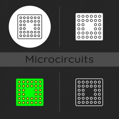 Cpu socket dark theme icon. Mechanical components providing mechanical and electrical connections between processor. Linear white, simple glyph and RGB color styles. Isolated vector illustrations icon