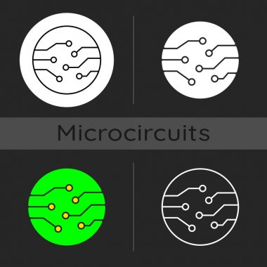 Circuit board connectors dark theme icon. Electronic connections to make connections between different components. Linear white, simple glyph and RGB color styles. Isolated vector illustrations icon
