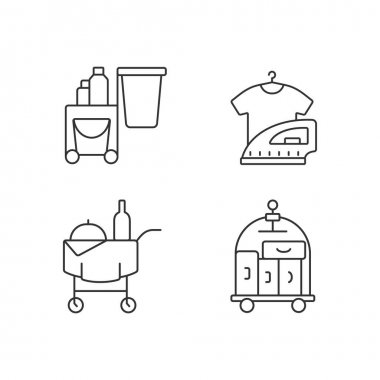 Hotel services linear icons set. Pet friendly hotels. Modern types of hotels which have all features. Customizable thin line contour symbols. Isolated vector outline illustrations. Editable stroke icon