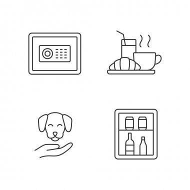 Hotel services linear icons set. Minibar is small refrigeratorplaced in customer hotel rooms. Customizable thin line contour symbols. Isolated vector outline illustrations. Editable stroke icon