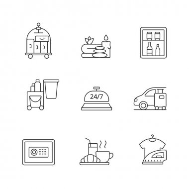 Hotel services linear icons set. Porter service for helping customers. Car parking for visitors. Customizable thin line contour symbols. Isolated vector outline illustrations. Editable stroke icon