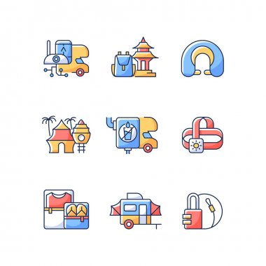 Roadtrip RGB color icons set. Travel equipment. Spiritual nomad. Resort for tourists. Recreational getaway. Camping trip necessities for traveler. Summer vacation. Isolated vector illustrations icon
