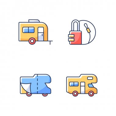 Trailer for van lifestyle RGB color icons set. Cover sheet for RV. Campground for vans. Travel lock. Roadtrip gear. Nomadic life. Camping trip necessities for traveler. Isolated vector illustrations icon